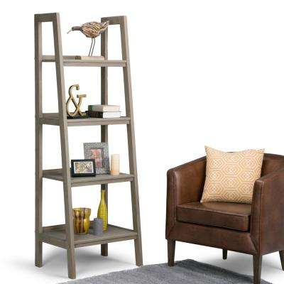 Sawhorse Distressed Grey Ladder Bookcase