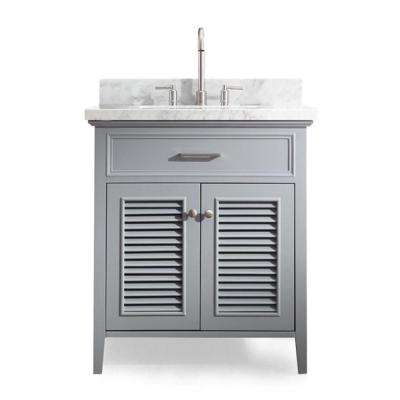 Kensington 31 in. Vanity in Grey with Marble Vanity Top in Carrara White with White Basin