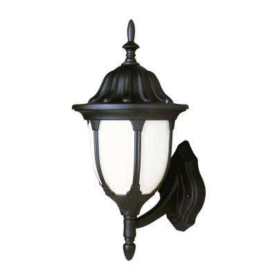 Cabernet Collection 1-Light Outdoor Rust Coach Lantern with White Opal Shade