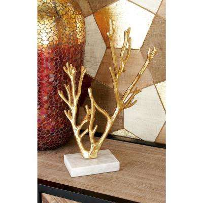 17 in. Abstract Iron Metal Gold Tree Sculpture on Rectangular Marble Base