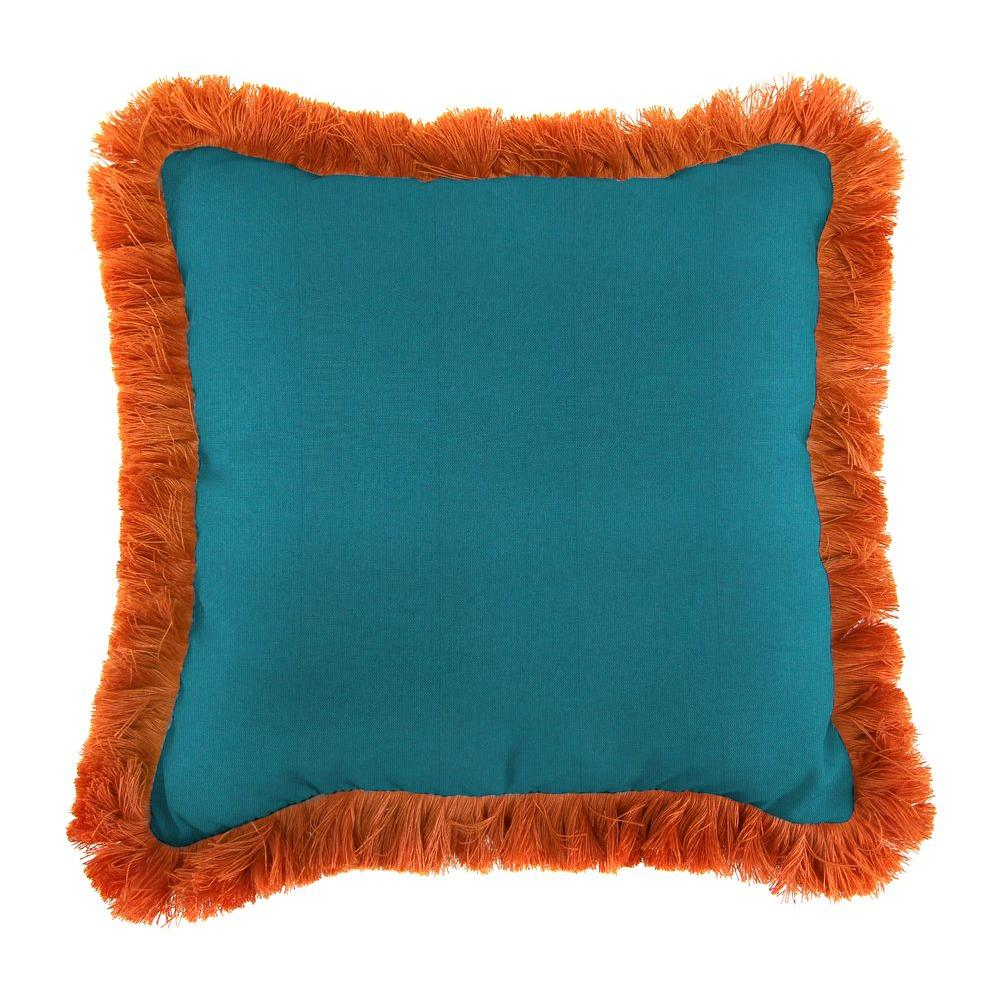 Jordan Manufacturing Sunbrella Spectrum Peacock Square Outdoor Throw Pillow with Tuscan Fringe