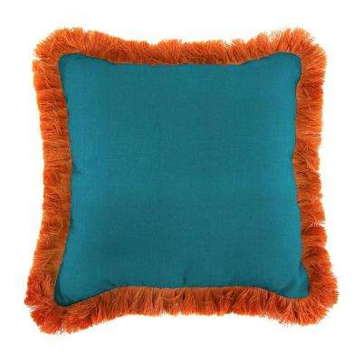 Sunbrella Spectrum Peacock Square Outdoor Throw Pillow with Tuscan Fringe
