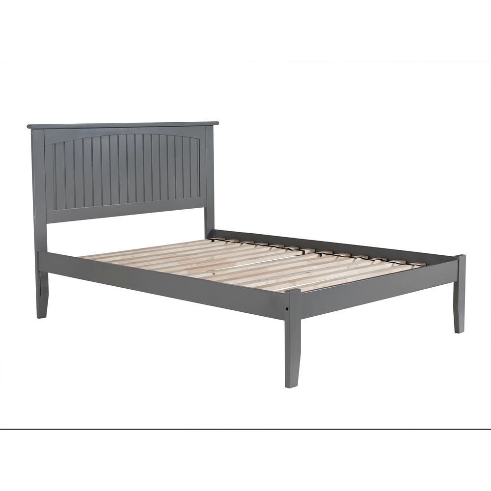 Nantucket Full Platform Bed with Open Foot Board in Grey