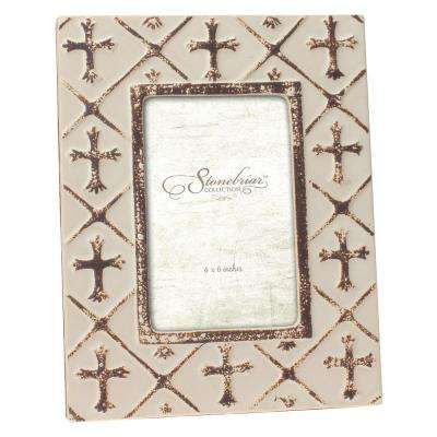 1-Opening 4 in. x 6 in. Worn White Finish Ceramic Cross Picture Frame