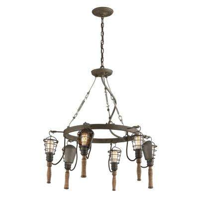 Yardhouse 6-Light Rusty Galvanized with Manila Rope and Wood Accents Pendant