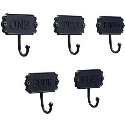 3.5 in. Matte Black Numbers Hook (5 per Pack)