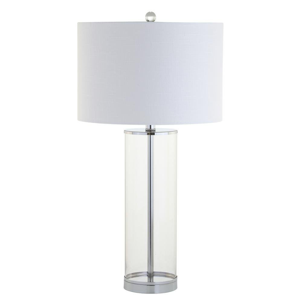 Harper 29 in. Clear/Chrome Glass Table Lamp