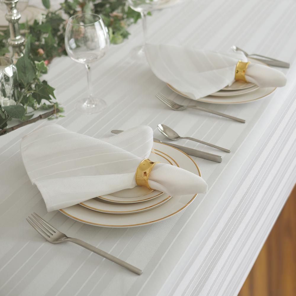 17 in. W x 17 in. L Elrene Denley Stripe Damask White Fabric Napkins (Set of 4)
