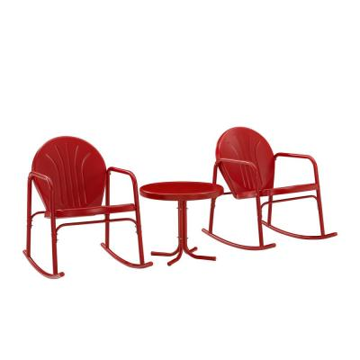 Griffith Red 3-Piece Metal Patio Conversation Rocking Chair Seating Set