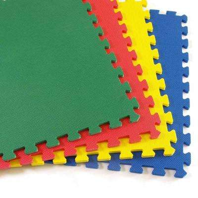 GreatPlay Blue, Green, Red and Yellow 2 ft. x 2 ft. x 1/2 in. Foam Puzzle Floor Mats (Case of 16)