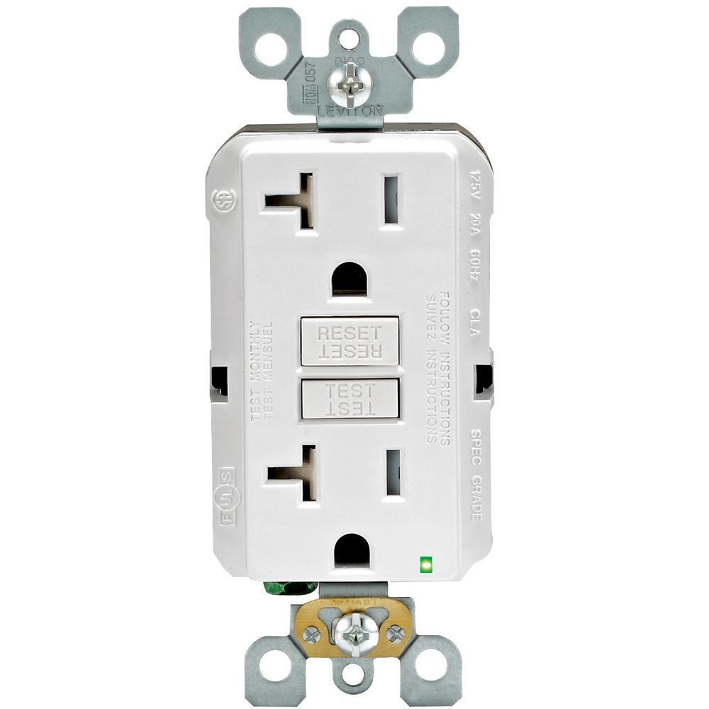 20 Amp 125-Volt Duplex SmarTest Self-Test SmartlockPro Tamper Resistant GFCI Outlet, White (4-Pack)