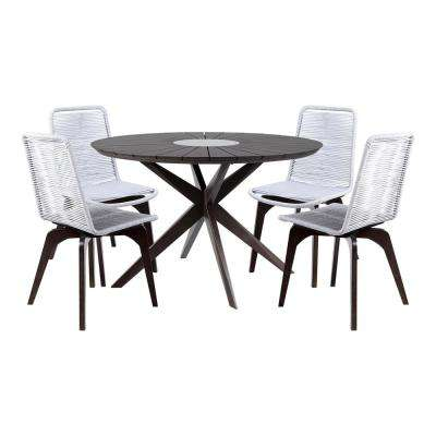 Oasis and Island Earth 5-Piece Eucalyptus Wood Outdoor Patio Dining Set