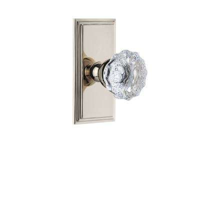 Carre Plate 2-3/8 in. Backset Polished Nickel Privacy Bed/Bath with Fontainebleau Crystal Door Knob