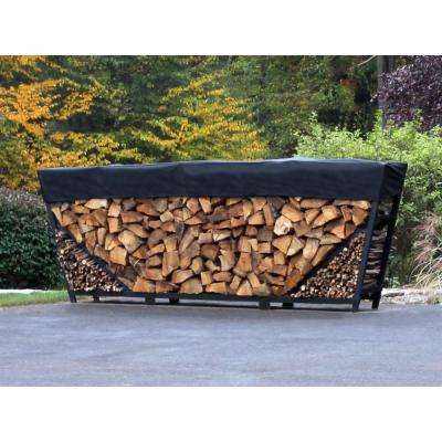 8 ft. Firewood Storage Log Rack with Kindling Holder and Cover - Slant Leg - Steel