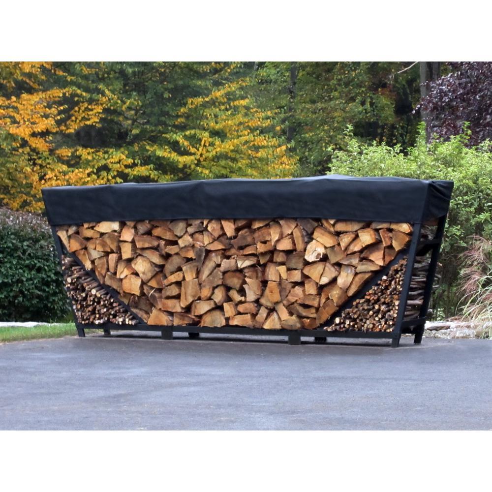 8 ft. Firewood Storage Log Rack with Kindling Holder and Cover - Slant Leg - Steel