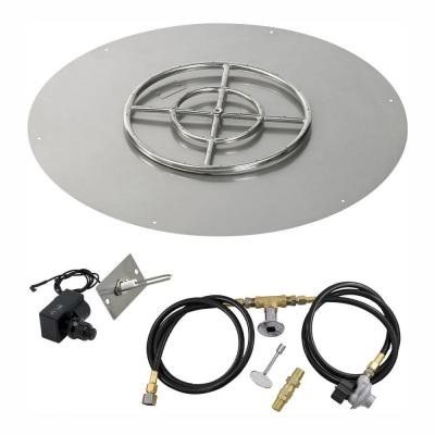 30 in. Round Stainless Steel Flat Pan with Spark Ignition Kit - Propane (18 in. Ring Burner Included)