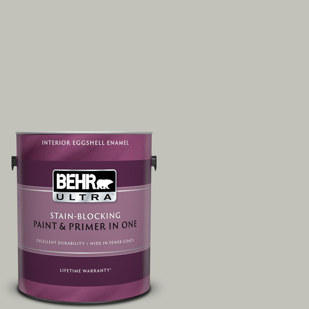 BEHR ULTRA 1 gal  #PPU25-09 Foggy London Eggshell Enamel Interior Paint and  Primer in One