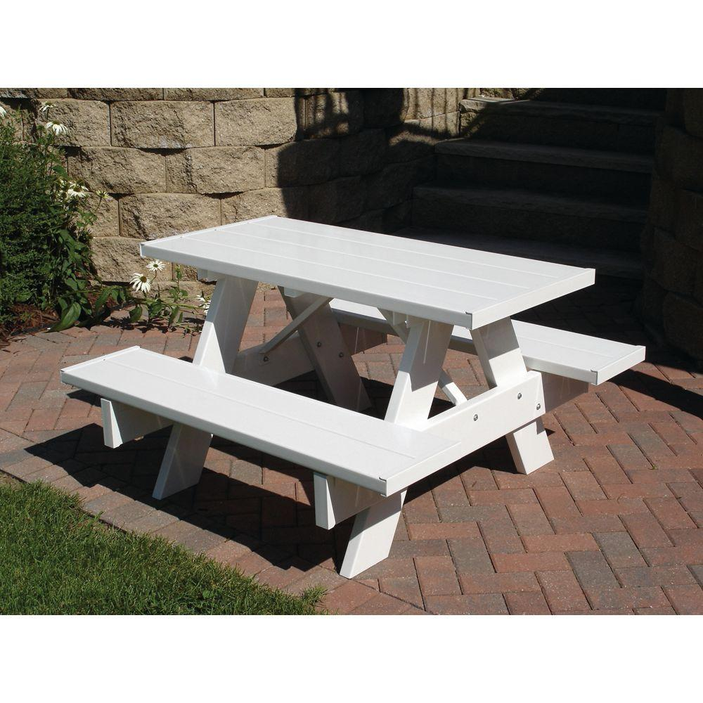 Tremendous Dura Trel 4 Ft White Vinyl Patio Kids Picnic Table Customarchery Wood Chair Design Ideas Customarcherynet