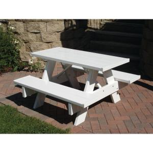 Dura-Trel 4 ft. White Vinyl Patio Kids Picnic Table by Dura-Trel