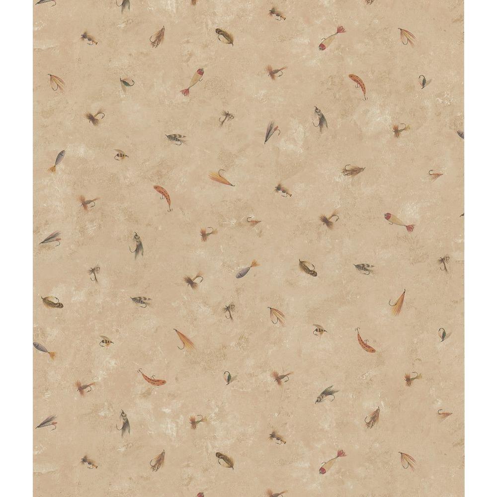 Brewster Northwoods Lodge Dark Beige Fishing Lure Wallpaper Sample