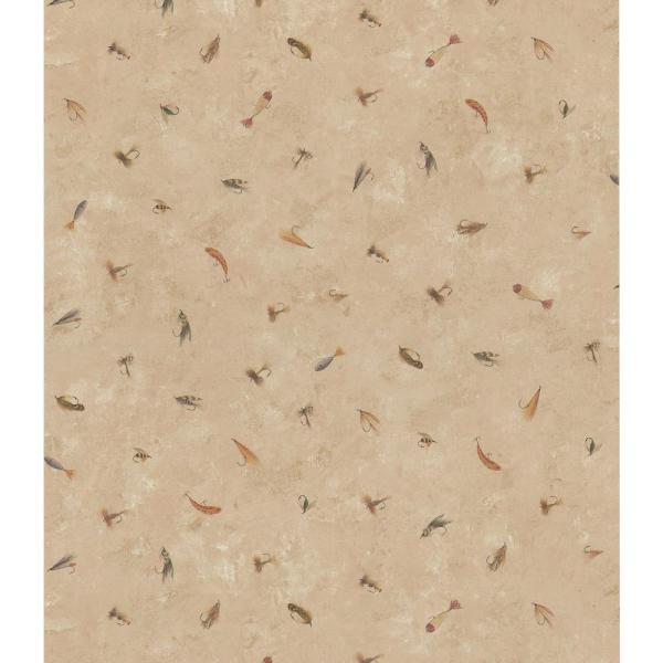 Brewster Northwoods Lodge Dark Beige Fishing Lure Wallpaper Sample 145-64924SAM