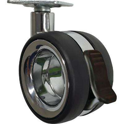 3 in. Vacant Twin Wheel Caster with Brake 121 lbs. Load Capacity