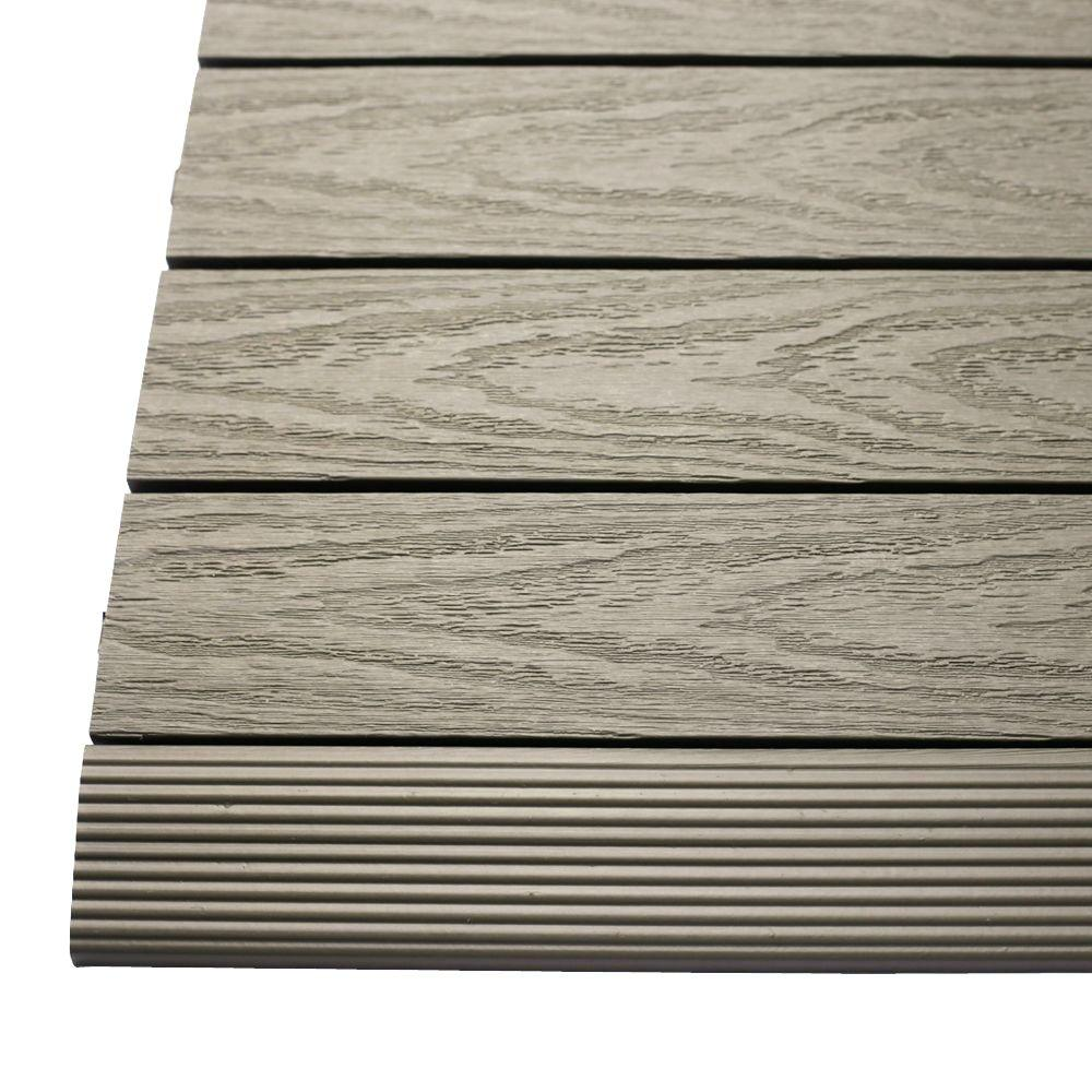 NewTechWood 1/6 ft. x 1 ft. Quick Deck Composite Deck Tile Straight Trim in Egyptian Stone Gray (4-Pieces/Box)