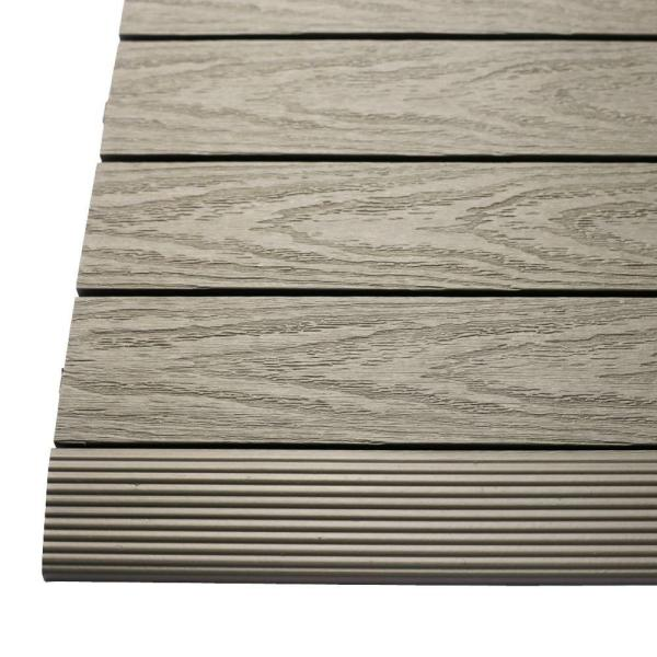 1/6 ft. x 1 ft. Quick Deck Composite Deck Tile Straight Fascia in Egyptian Stone Gray (4-Pieces/Box)