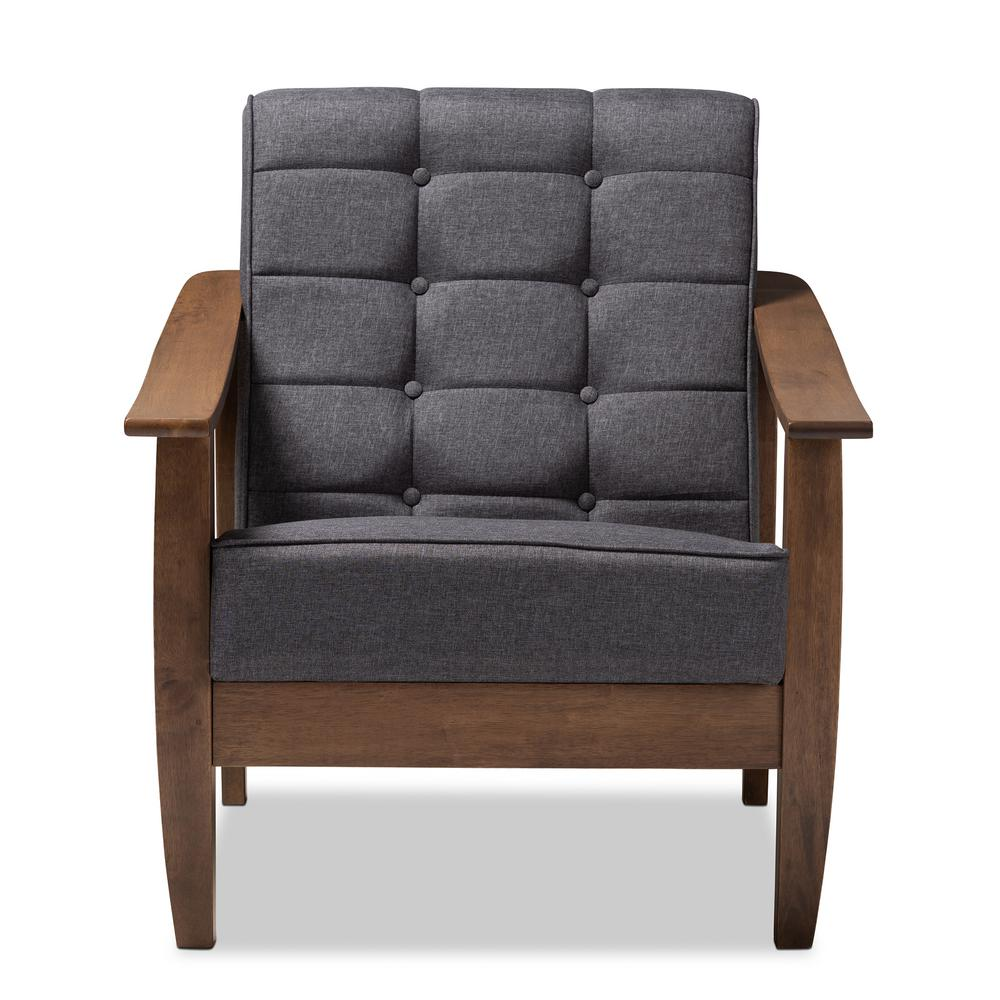 Larsen Gray and Walnut Fabric Accent Chair