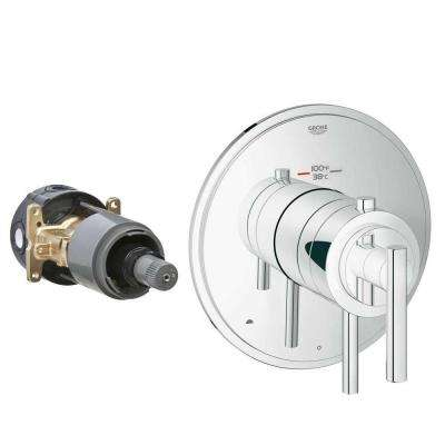 Timeless 2-Handle GrohFlex Universal Rough-In Box Dual Function Thermostatic Kit in Chrome