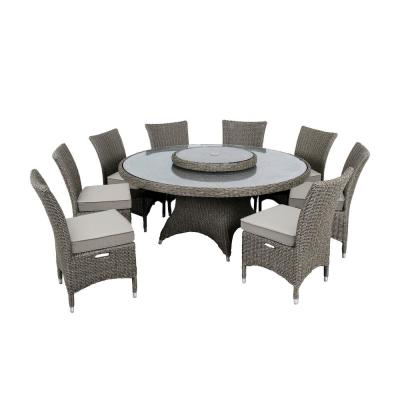 Habra III 9-Piece Aluminum Round Outdoor Dining Set with Brown Cushions