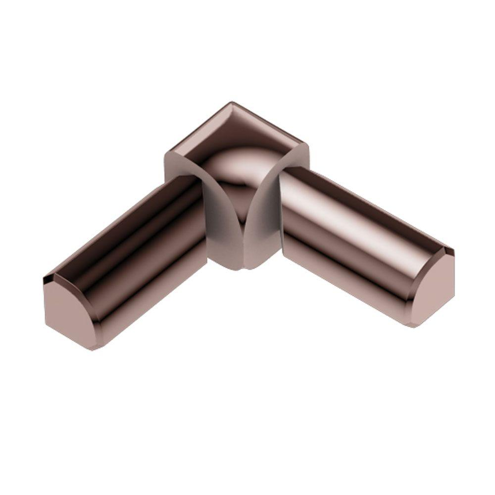 Schluter Rondec Polished Copper Anodized Aluminum 3/8 in. x 1 in. Metal 90° Double-Leg Inside Corner