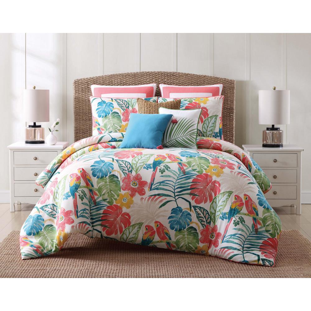 Coco Paradise 3-Piece Duvet Floral Cotton Full/Queen Duvet Cover Set