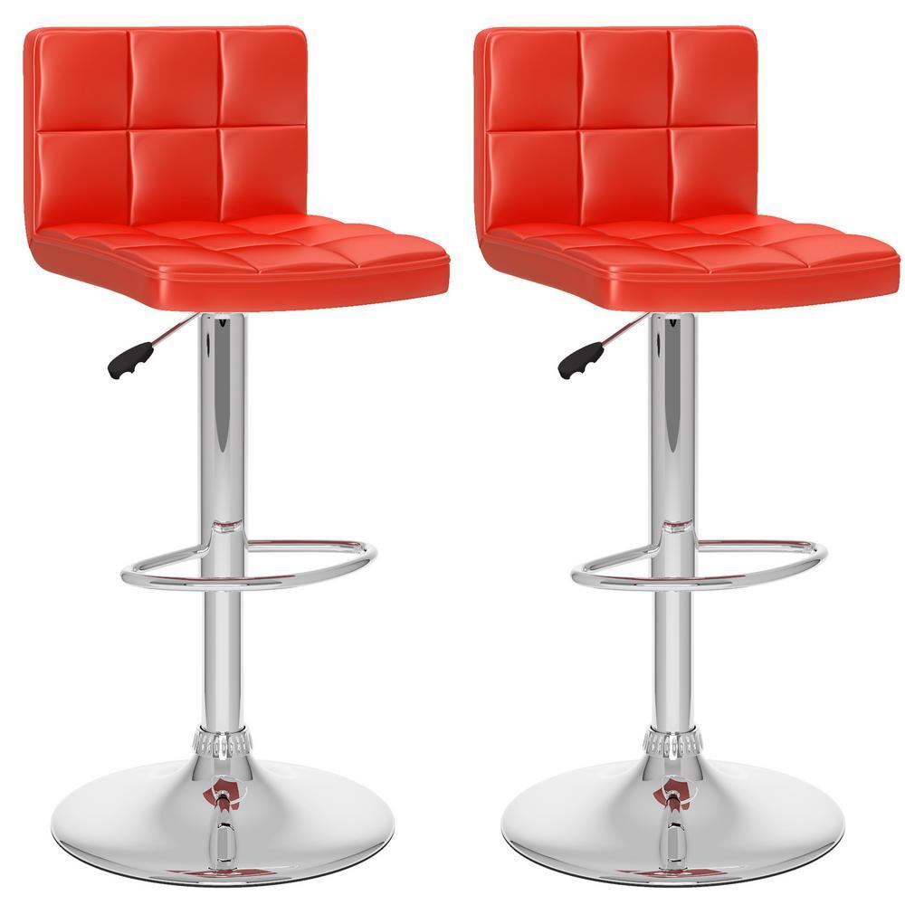 corliving adjustable red leatherette high back bar stool set of 2 dpu 754 b the home depot. Black Bedroom Furniture Sets. Home Design Ideas