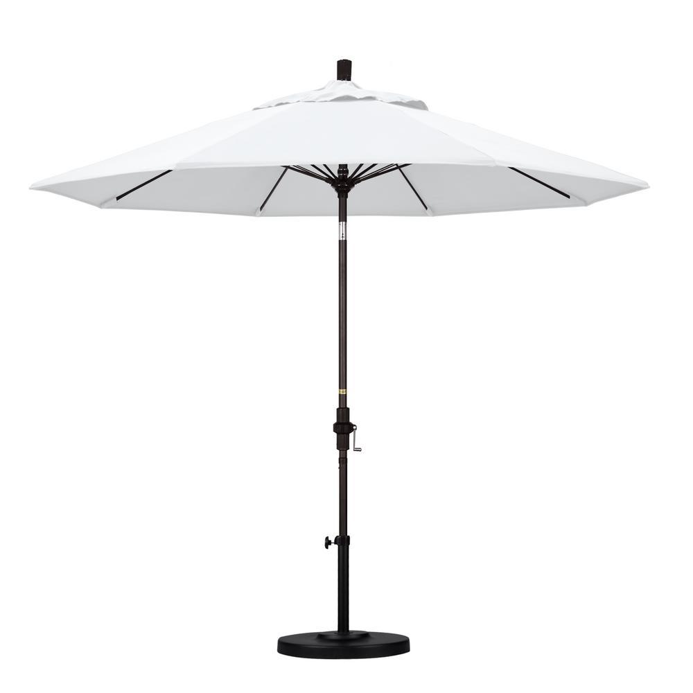 California Umbrella 9 ft. Outdoor Market Patio Umbrella Bronze Aluminum Pole Fiberglass Ribs Collar Tilt Crank Lift in Sunbrella
