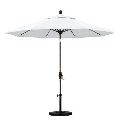 9 ft. Outdoor Market Patio Umbrella Bronze Aluminum Pole Fiberglass Ribs Collar Tilt Crank Lift in Sunbrella