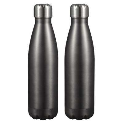 Marina 16 oz. Brushed Gun Metal Double Wall Water Bottle (2-Pack)