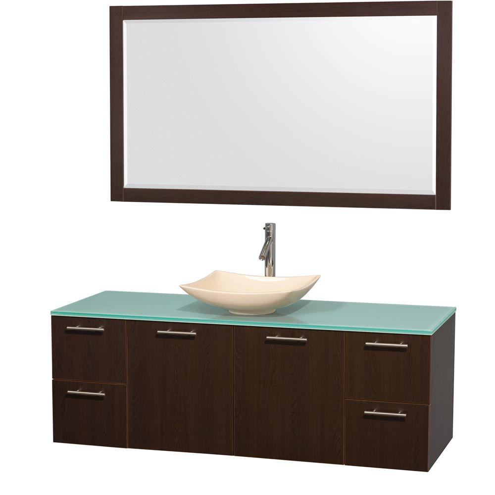 Amare 60 in. Vanity in Espresso with Glass Vanity Top in