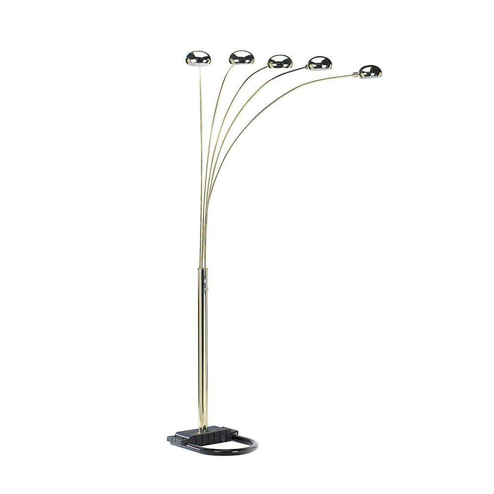 Ore international 84 in 5 arms polish brass arch floor lamp 6962g 5 arms polish brass arch floor lamp mozeypictures Image collections