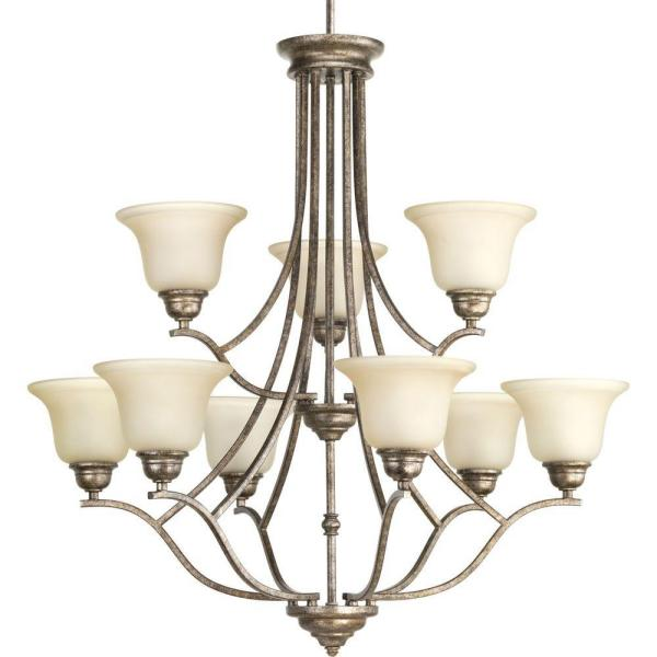 Progress Lighting Spirit Collection 9-Light Pebbles Chandelier with Etched Light Umber Glass