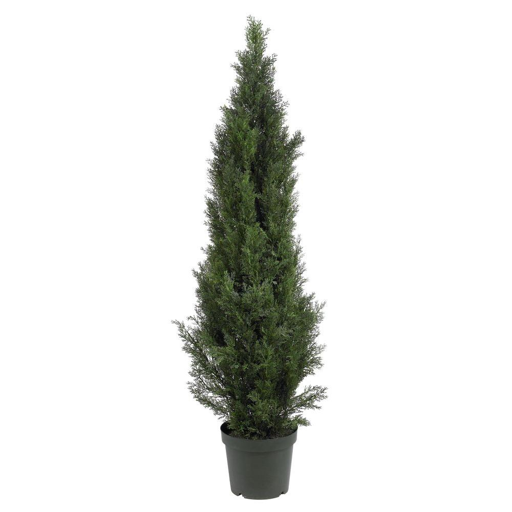 Nearly Natural 5 ft. Mini Cedar Pine Silk Tree Deck the halls with this lovely Mini Cedar Pine Tree. At 5 feet tall, it is the perfect size to adorn your home entryway or place it at opposite ends of a fireplace to create a cozy charming appeal. Covered with bright green foliage that looks and feels so real, you may forget not to water it. A basic planter filled with soil further compliments this all natural masterpiece.