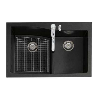 All-in-One Dual Mount Granite 33 in. 1-Hole Double Basin Kitchen Sink in Black