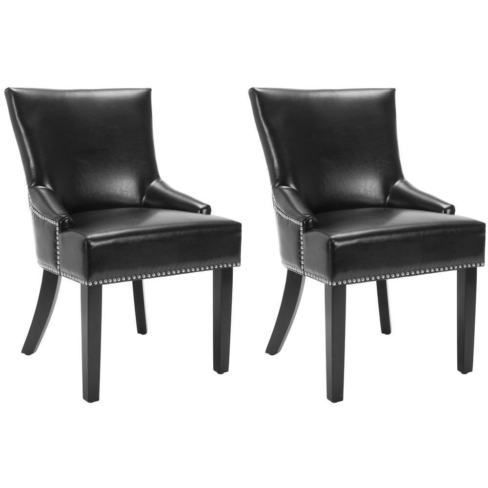 Lotus Black/Espresso Bicast Leather Side Chair (Set of 2)