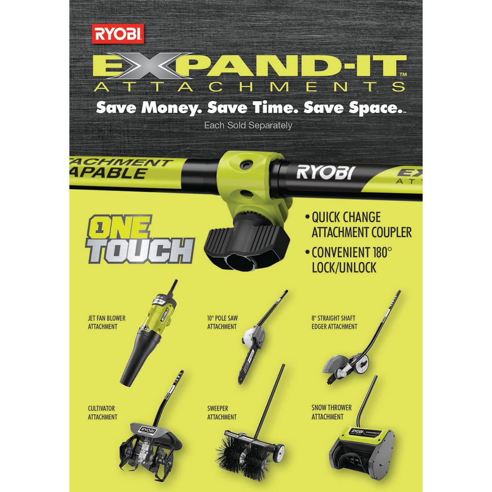 Ryobi 25 Cc Gas 2 Cycle Attachment Capable Full Crank Straight Shaft String Trimmer And Ultimate Attachment Kit Ry253ss Cmb1 The Home Depot