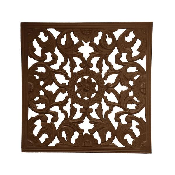 Zaria Espresso Square Medallion Wooden Wall Art