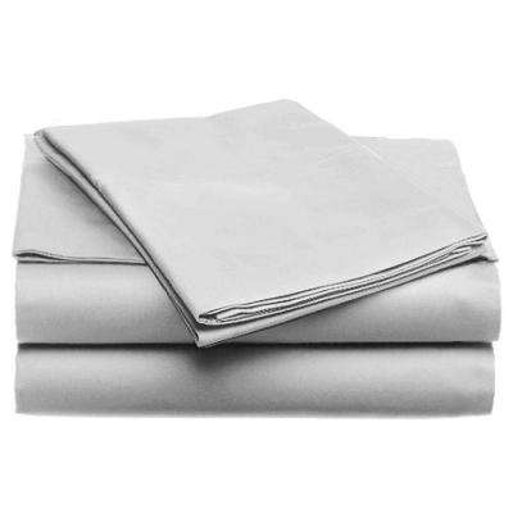 Jill Morgan Fashion Solid Silver Microfiber Twin Sheet Set (3-Piece)