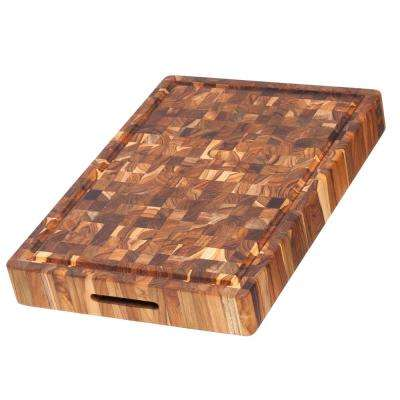 20 in x 14 in x 2.5 in Rectangular Wood Butcher Block with Hand Grips and Juice Canal
