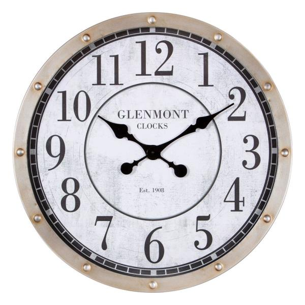 Pinnacle 24 in. Glenmont Rustic Port Hole Brushed Silver Metal Round Wall Clock