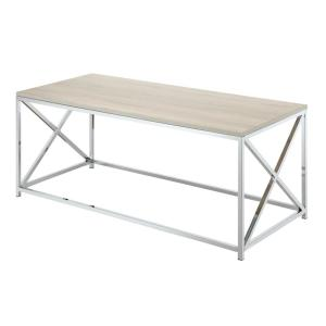 Belaire 42 in. Weathered White/Chrome Large Rectangle Wood Coffee Table