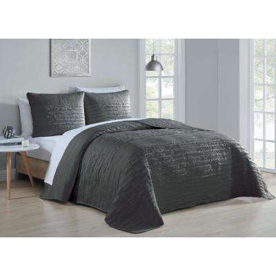 Spain 3-Piece Grey Queen Quilt Set